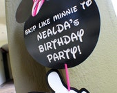 DIGITAL FILE - Customized Party Direction / Teaser Signs (Minnie Mouse Theme)