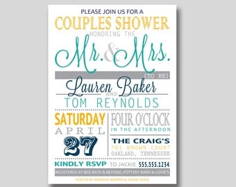 Typography Bridal Wedding Couples Shower Invitation - Custom DIY Printable