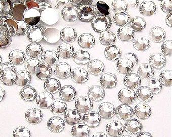 4mm 1000 pieces Round Flat Back 14 facet cut Rhinestones  ----  Clear