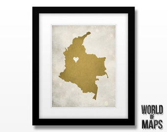 Colombia Map Print - Home Town Love - Personalized Art Print Available in Different Sizes & Colors