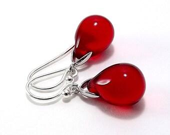 Sterling Silver Earrings with Siam Ruby Red Czech Glass Teardops