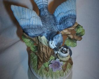 Royal Crown Blue Jay Musical Figurine vintage
