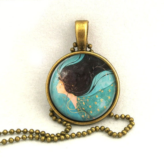 10% SALE Necklace Illustration Lady Pendant Necklaces Gift