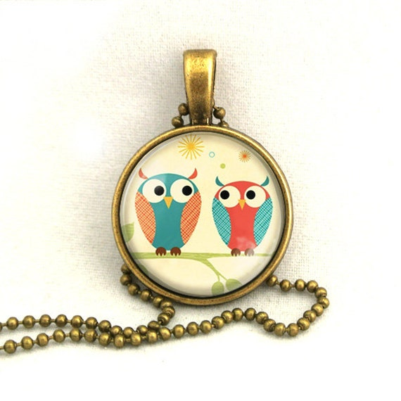 10% SALE Necklace A Couple of Cute Owls Valentine's Glasses Pendant Necklaces Gift