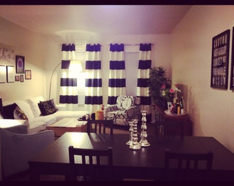 Black and White Horizontal Striped Curtains with Grommets