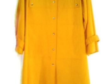 Vintage Bonnie Cashin M L Rain Jacket Coat Yellow Gold A-line swing trench