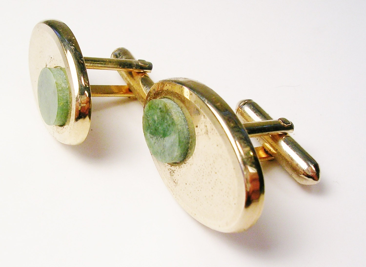 Vintage swank cufflinks oval gold tone genuine jade stone for What is swank jewelry