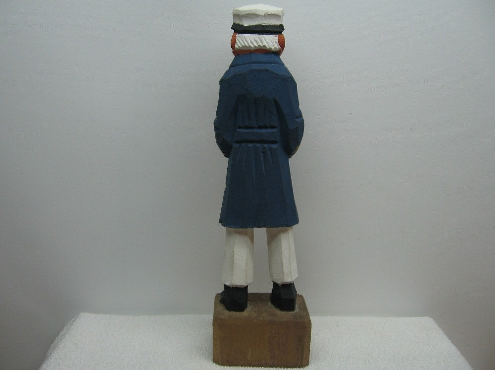 Wood Sailor Carved Statue Captain Figurine Navy Sea Nautical