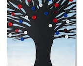 Original Button Tree Painting - Button Art - Americana Decor - Affordable art - SamIamArt