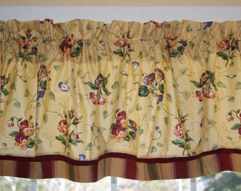 """Jay Yang Yellow/Gold Floral Blue Toile Valance  17"""" X 81"""" Medium Weight  Curtain Can Alter"""