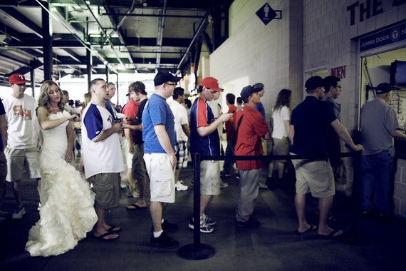 Whimsical Bridal portrait, baseball Game Texas Rangers