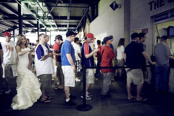Whimsical Bridal portrait, baseball Game Texas Rangers