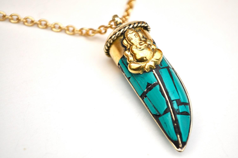 ganesh necklace turquoise ganesha tusk necklace
