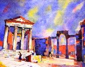 Watercolor painting of Roman temples at Dougga- Tunisia