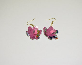 Soda can earrings - aluminum pop can jewelry pink