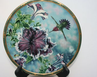 Pickard Anna's Hummingbird and Petunias by Cyndi Nelson