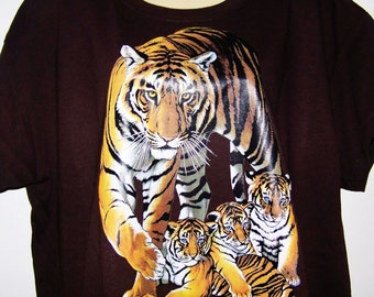 "Sale! TIGER AND CUBS"" Very creative T Shirt  ""Tiger""  Show off your favorite  animal, this Shirt is awesome, great for gifts."