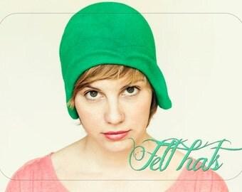 WOMEN Felt hat / Grass green felt cloche vintage style handmade hat, gatsby style women hat