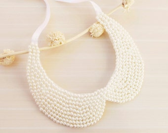 Fashion Accessories, Ivory or white Pearl Collar Necklace, Peter Pan Collar Necklace, Handsewn