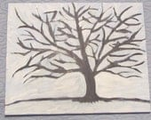 Abstract Winter Tree Original Acrylic Hand Painted on Canvas 16x20 Wall Art