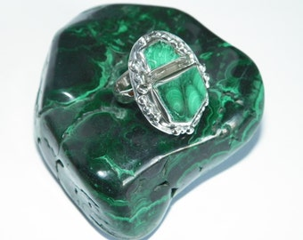Handmade .925 Sterling Silver & Natural Malachite Stones Ring Size US 7
