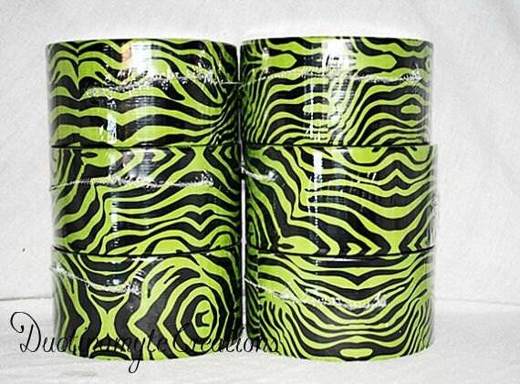 Wild Green Zebra Print Duct Tape