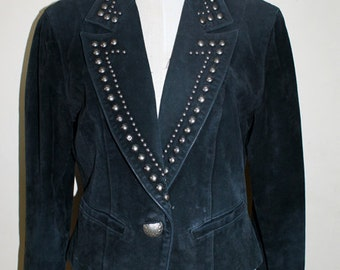 VINTAGE 80s Glam Rock Heavy Metal Western style Black Suede studded leather jacket. Womens Size M