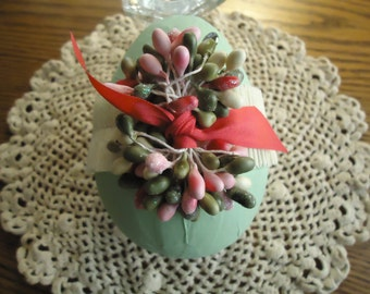Green Paper Mache Easter Egg