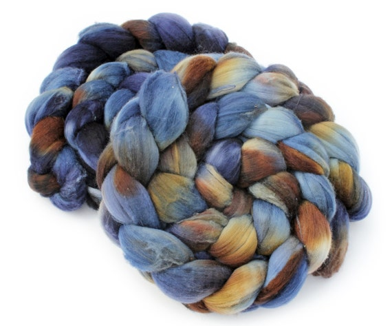 Ultra fine (15.5 micron) Australian Merino Wool Roving - Midnight Wolf - 4oz/ 110g - In shades of  Navy Blue, Brown, and White