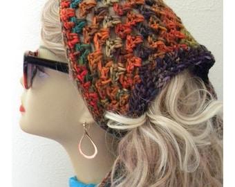 Retro Fashion Kerchief /headscarf hand crocheted women hair accessories bandana  Rust aqua green purple