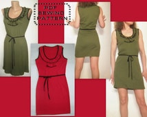 Scoop neck dress with ruffles- PDF sewing pattern-INSTANT DOWNLOAD-Sizes 34,36,38,40,42