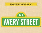 Sesame Street Party Printable - Sesame Street Birthday Party Custom Name Sign Printable Party Decoration