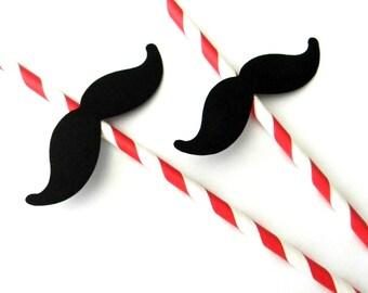 12 Mustache Party Straws, Red Stripe Straws, Mustache Birthday, First Birthday, Baby Shower, Gender Reveal, Mustache Theme, Mustache Straws