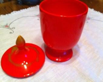 Vintage Orange  Ceramic Dish With Lid Bright Orange Pedestal Dish