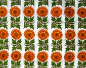 White floral printed cotton fabric with yellow orange flowers - 1 yard