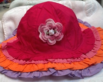 Girls Toddler Pink Lavender Ruffles Hat Sunhat - Handmade Irish Rose - Hot Pink, Pink, Orange, Lavender - Sizes 3-4, 5-7, 8 and Up Years