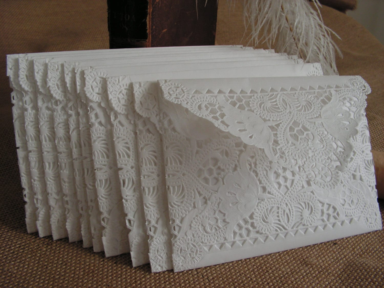 Vintage Handmade Wedding Invitations: Vintage Doily Paper Lace Envelopes Handmade White Wedding