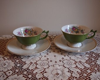 Pair Four Crown China Tea Cups Pattern Argent 514
