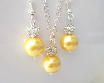 Yellow bridesmaid jewelry set, yellow flower girl jewelry set, flower girl necklace and earrings, flower girl gift, yellow pearl jewelry set