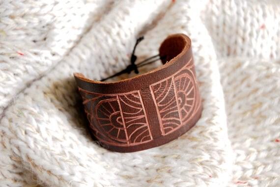 Leather Cuff Bracelet - Etched Geometric Pattern