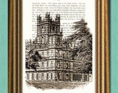 DOWNTON ABBEY MANSION - Dictionary Art Print - Upcycled Vintage Book Page - Wall Art