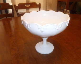 Vintage,1960s, Milk Glass Footed Bowl
