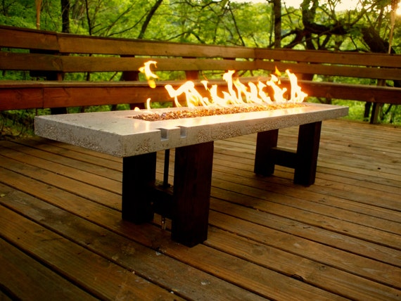 Fire Pit - Fire Table - Concrete and Glass - Propane or Natural Gas