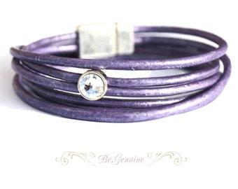 Leather bracelet - Purple - Lavender - wrap around bracelet- Rhinestone Bracelet
