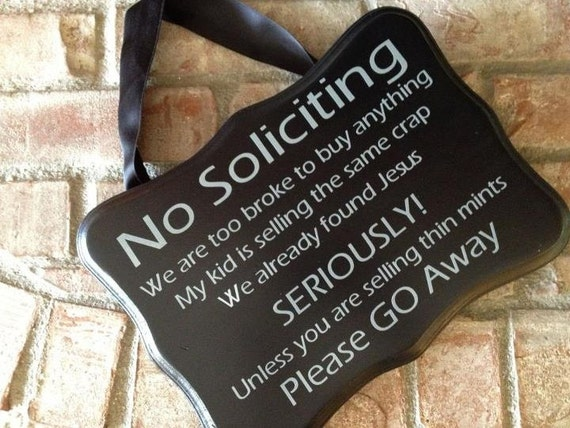 Items similar to funny no soliciting sign on etsy - Funny soliciting signs ...
