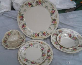 7 piece place setting TK Thun floral design, Czechoslovakia/Germany porcelain