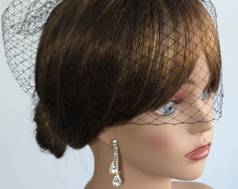 Black Wedding Bridal Birdcage Veil Fascinator  Wedding Accessory Bridal Accessory
