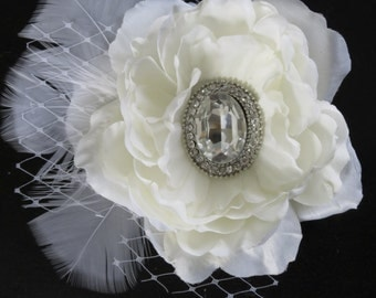 Ivory Bridal Flower Hair Clip Wedding Accessory  Crystal Feathers Bridal Fascinator