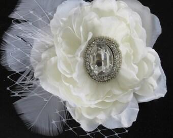 Ivory Bridal Flower Hair Clip Wedding Accessory  Crystal Feathers Bridal Fascinator