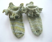 Ruffle Socks -  Sage Green Retro Ruffles Great to wear with Mary Janes : Women's Size - HistoricalKnits